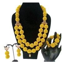 Glamorous African jewelry Set Beads Balls Yellow Or Orange Wedding Jewellery Set bridal Jewelry Free Ship Crystal Necklace Set