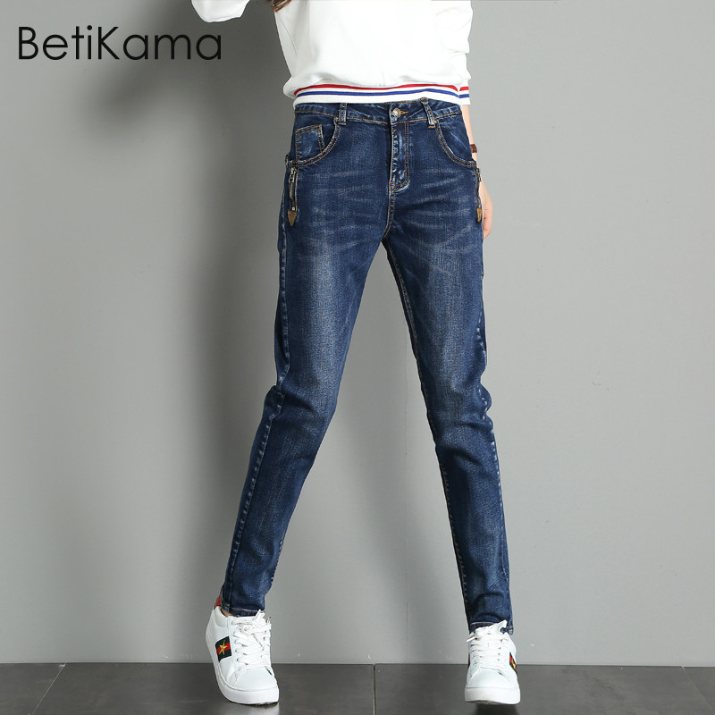 Women's Clothing Careful Betikama Plus Size Thin Fabric Lace Jeans Women For Elastic Flare Jeans Stretch Denim Pants Embroidered With Skinny Jean Femme