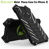 I8 Case R JUST Metal Aluminum Shockproof Case Cover For IPhone 8 Protective Phone Shell Back