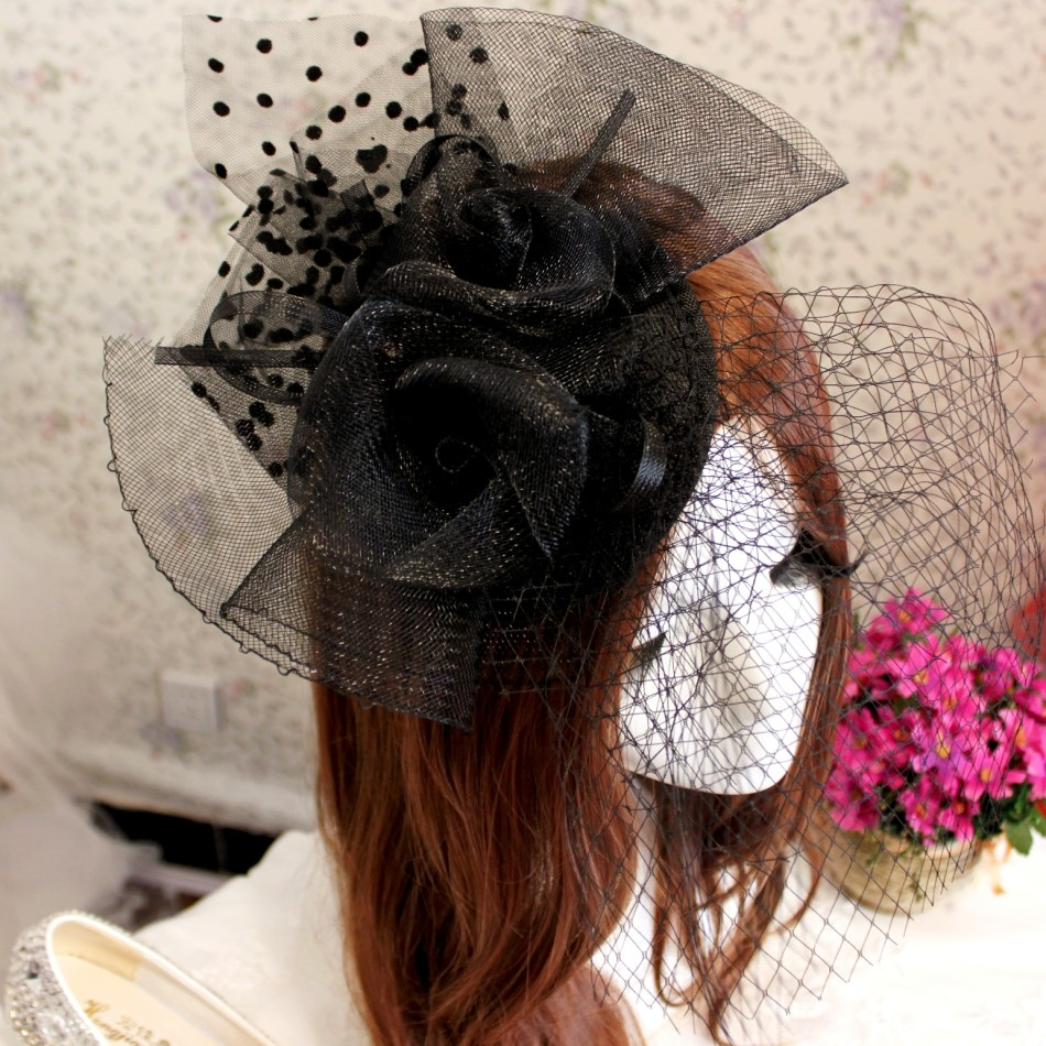 Black Gothic Face Veils Hair Accessories Headpiece Nets Fascinator Party Birdcage Short Bride Wedding Hats with Hairpin
