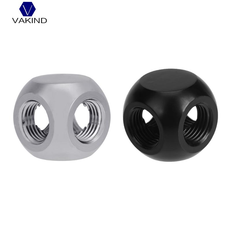 VAKIND Brass G1/4 Inner Thread 4 Way Water Tube Connector Splitter Tee Fittings Ball Shaped Adapter For PC Water Cooling System water cooling flow meter acrylic 2 and 3 ways g1 4 speedometer thread with no joints cooling kit fittings
