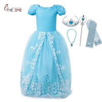 MUABABY Cinderella Costume Girls Summer Short Sleeve Print Princess Party Dress Kids Halloween Birthday Dresses With
