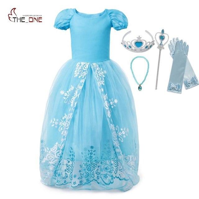 MUABABY Cinderella Costume Girls Summer Short Sleeve Print Princess ...