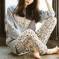 Outono Mulheres Pijama Define Novo 2017 Primavera O Pescoço Mulheres Manga Comprida Pijamas Pijamas Meninas Desgaste Casa Roupas Para A Mulher Camisola