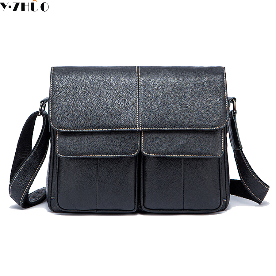ФОТО genuine leather bags for men business really cowhide crossbody bags for male top-handle shoulder messenger bags briefcase black