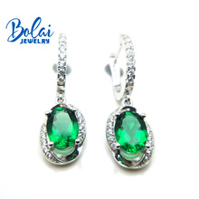 Bolai created chrome diopside dangle earrings 925 sterling silver green gemstone fine jewelry ear drop for women wedding gift