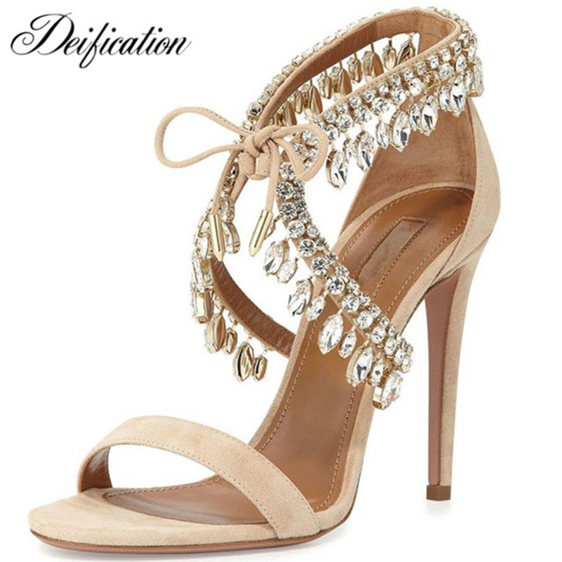 Deification Handmade Strappy Ladies Designer Shoes Women Lace Up Fashion Zapatos Mujer High Heels Rhinestone Gladiator Sandals