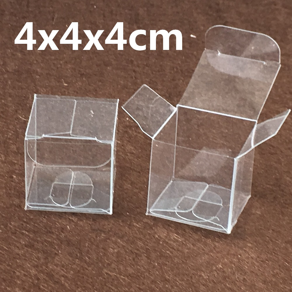 Us 70 0 1000pcs 4 4 4cm Transparent Waterproof Clear Pvc Boxes Packaging Small Plastic Box Storage For Food Jewelry Candy Gift Cosmetics In Jewelry