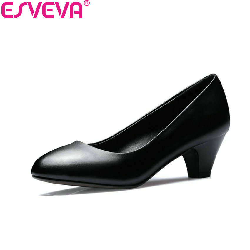 ESVEVA 2018 Women Pumps Round Toe High Heel Spring and Autumn PU+Cow Leather Office Ladies Shoes Slip on Work Shoes Size 34-42 стоимость