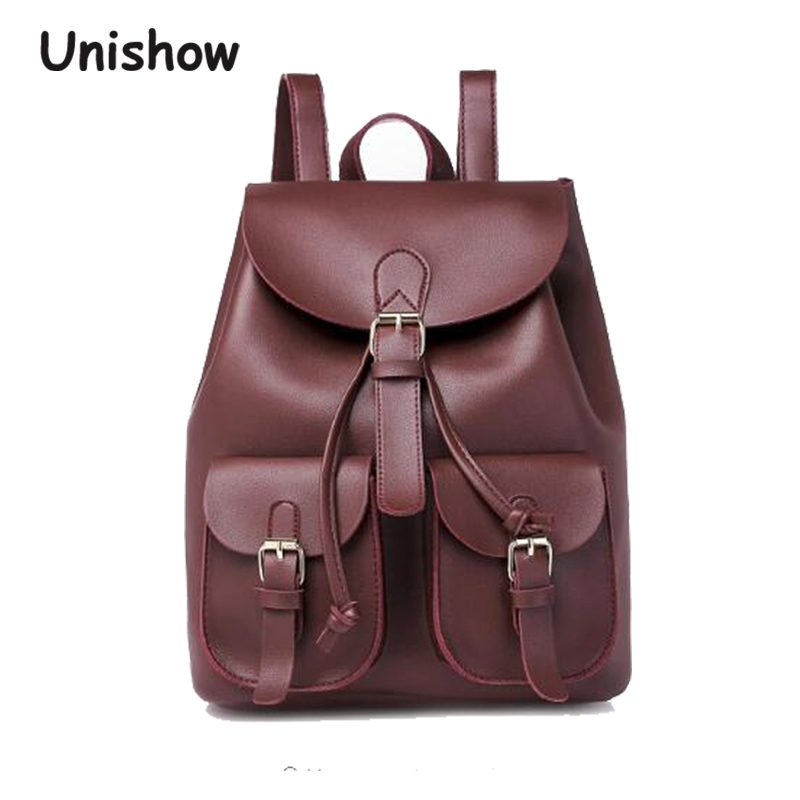 Unishow Women Backpack Fashion Casual Pu Leather Female Backpacks Young Girl Student School Bag Large Capacity 2017 new girl backpack mini high quality girl student casual female bags woman shoulder bag backpacks fashion female bag