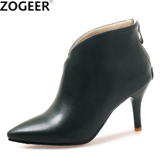 Marka Ayakkabı Kadın Çizmeler Sonbahar Yüksek Topuklu yarım çizmeler Sivri Burun Fermuar Martin Çizmeler Siyah Bayanlar Ayakkabı Büyük Boy 34- 46