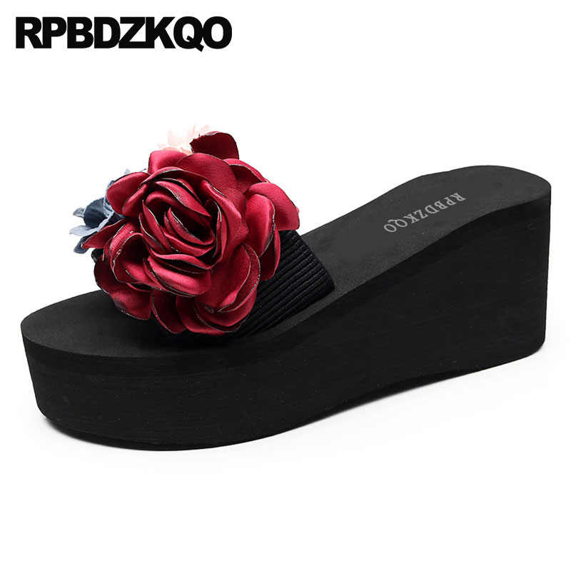 996abcdfef77 Wedge Woman Shoes Luxury Brand Sandals Flower Slippers Rubber Lady High Heel  Beach Slides 2018 Casual