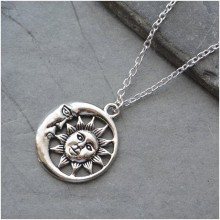 2019 new fashion Sun And Moon Necklace Pendant Silver Celestial Charm Jewelry Gift long ADARJW