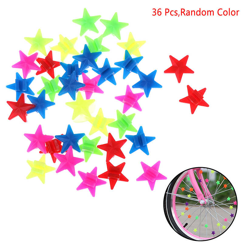 Colorful 36Pcs Star Bike Bicycle Wheel Spoke Beads Luminous Plastic Clip Spoke Bead Bicycle Beads Wire Beads Decor