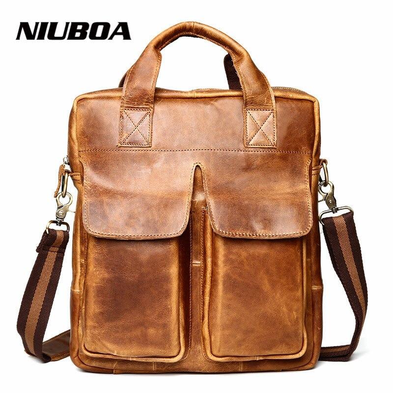 ᐊgenuine Leather Shoulder Bag Men Leather Briefcase Business