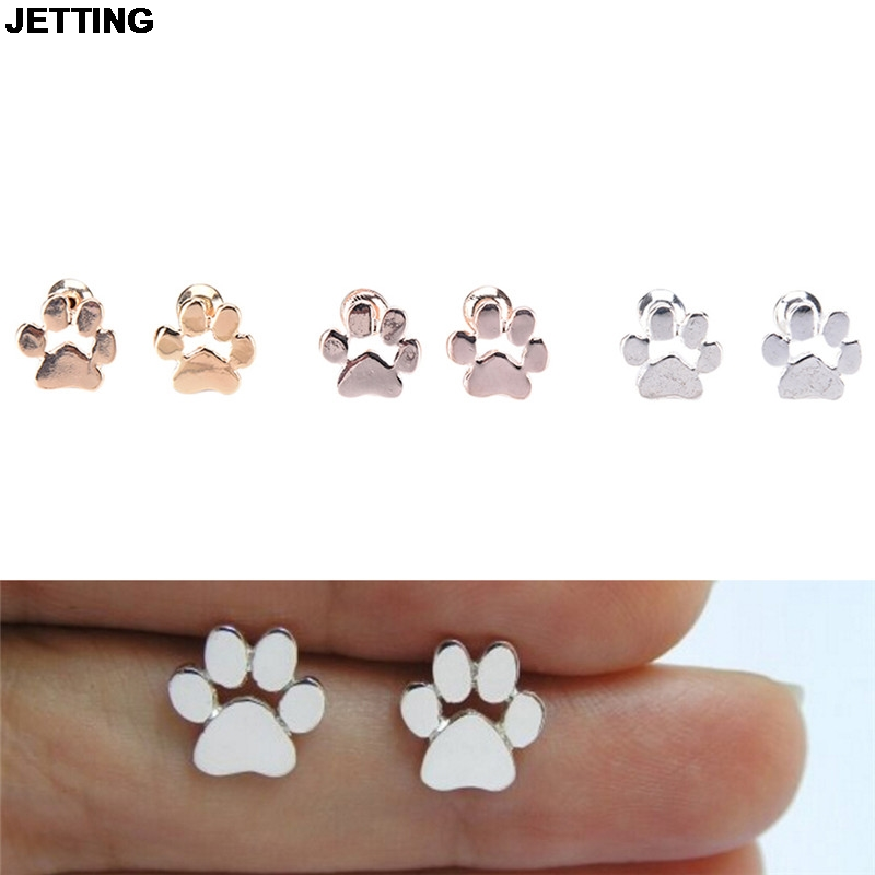 JETTING 2017 Silver Stud Earring Girl Cute Animal Cat and Dog Paw Print Earring Stud Animal Love Jewelry