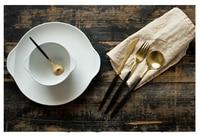 4 pcs/set 304 Black Handle Golden Flatware Set Stainless Steel Cutlery Set Matte Spoon Fork Knife Dinnerware Set free shipping
