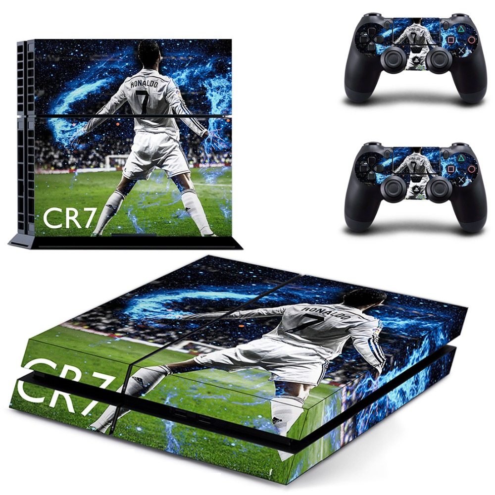 Football Star Cristiano Ronaldo PS4 Skin Sticker Decal Vinyl for Sony Playstation 4 Console and 2