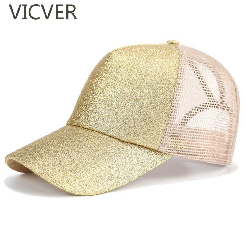 2019 Kids Glitter Ponytail   Baseball     Cap   Snapback Girls Hat Messy Bun Hip Hop   Caps   Adjustable Casual Summer Mesh Trucker Hats
