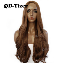 QD-Tizer Brown Hair Wig Long Body Wave Silk Base Wig Glueless Heat Resistant Fiber Hair #8 Color Synthetic Wigs For Black Women недорого