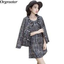 7df3ddb351c Vintage Gland Tweed Robe 2 pièce ensemble 2018 Nouveau Automne Hiver Femmes  Perles À Manches Longues