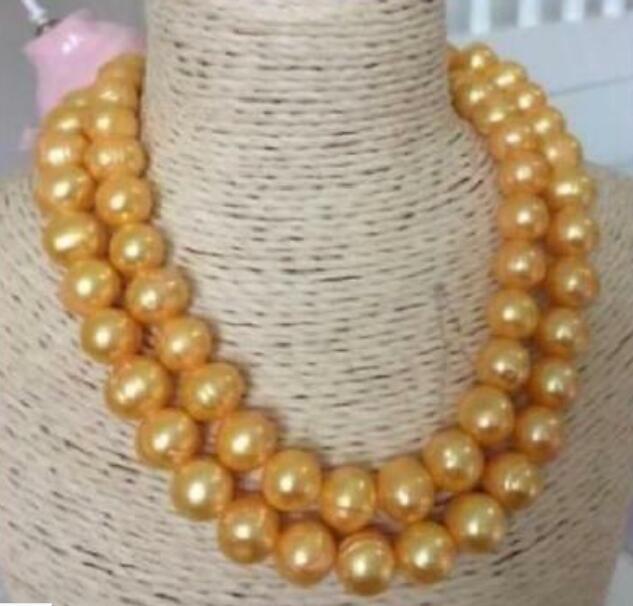 Bella AAA 11-12mm barocco collana di perle in oro 35Bella AAA 11-12mm barocco collana di perle in oro 35