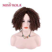 Miss Rola Synthetic Curly Wig 4# Japanese Kanekalon Fiber Women Wigs 9Inch Heat Resistant Short Wigs(China)