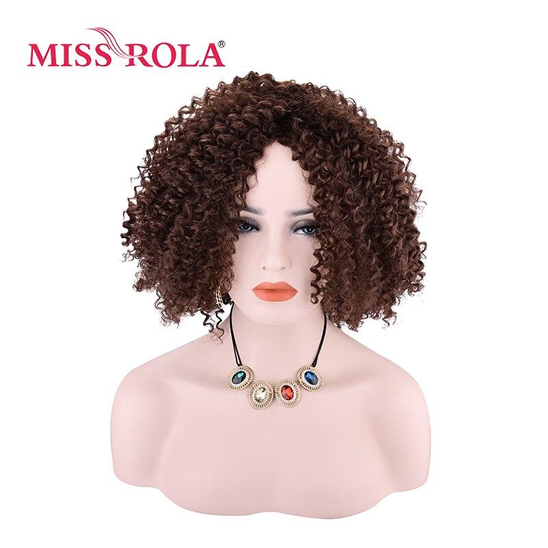 Miss Rola Synthetic Curly Wig 4# Japanese Kanekalon Fiber Women Wigs 9Inch Heat Resistant Short Wigs