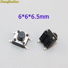 ChengHaoRan 20-100pcs 6x6x6.5mm Panel PCB Momentary Tactile Tact Mini Push Button Switch SMT 4pin 6*6*6.5mm