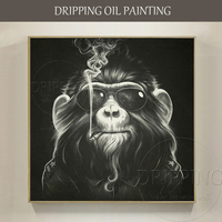 Cheap Price High Quality Modern Animal Black Orangutan Oil Paining Funny Monkey Gorilla Smoking Oil Painting for Living Room