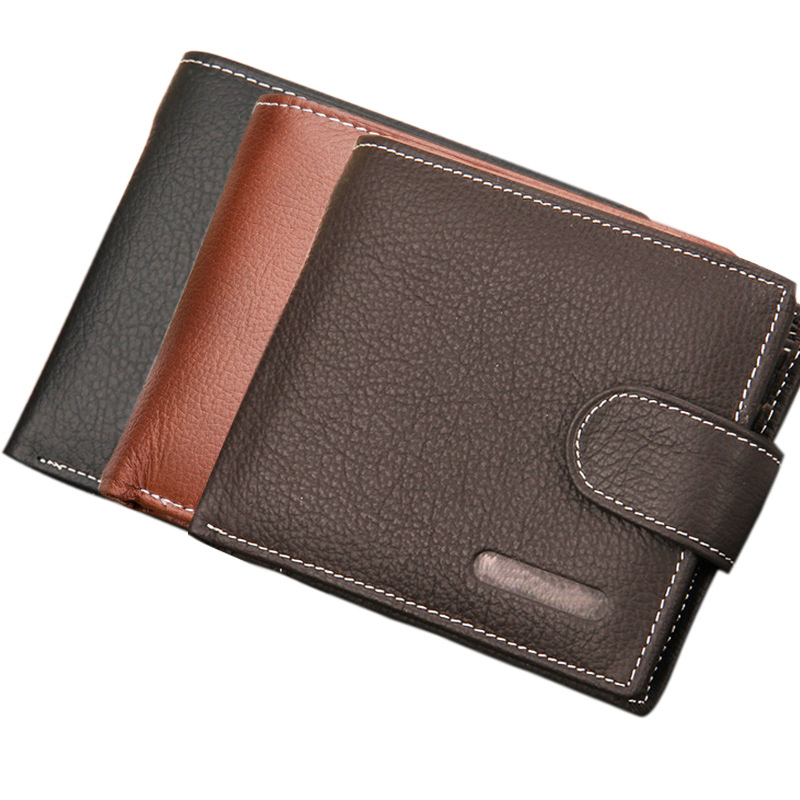 Genuine Leather Wallet Men Clip Cowhide Wallet Small Clutches Purse Coin Pouch Short Wallets  LBY2017 gubintu genuine cowhide leather money clip wallet men slip metal short wallets men slim clutch men wallet small purse for man