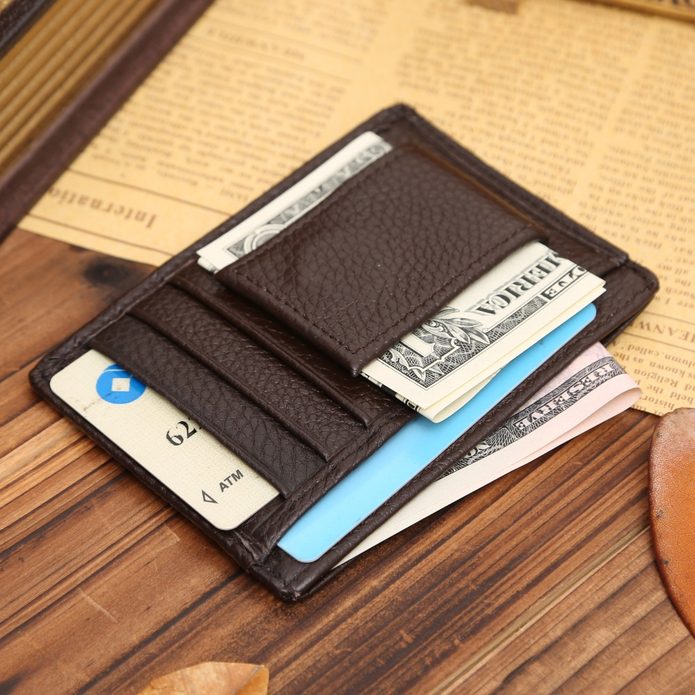 Men Money Clips Cow Genuine Leather Wallet Magnet Clamp Casual Small Card Wallet Male Credit Card Holds Multi Pockets Purse