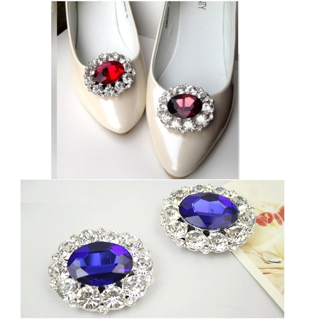 Fashion k9 crystal rhinestone shoe flower gem women's shoes charms buckle clips shoes decoration accessories wedding gift 1pair