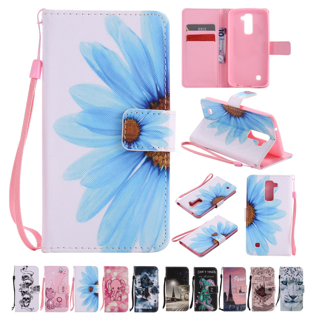 Case Cover Luxury Card Slot Wallet Flip Book for LGK10 LG K10 Leather and Soft TPU Phone Cases Painting Mobile Cover Bag