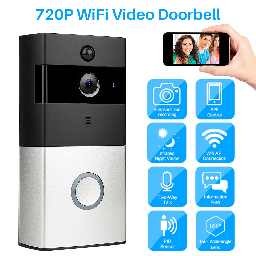 WiFi Video Doorbell Wireless Camera Intercom 720P Ring Door Bell Chime Two-Way Audio APP Control For IOS Android Battery Powered