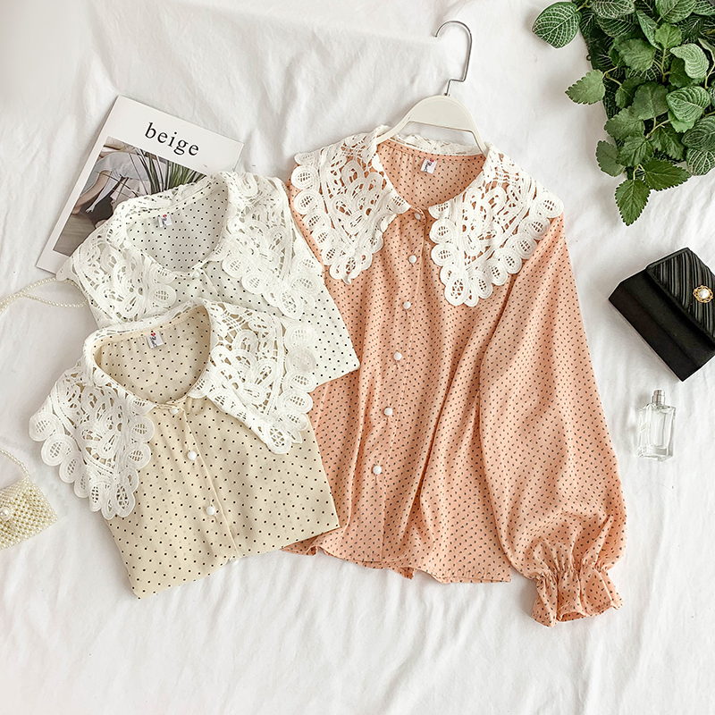 Korean Sweet Hollow Lace Lapel Long Sleeve Flowers Print Loose and Thin Casual Shirt Women's Fashion Blouse Tops G019-in Blouses & Shirts from Women's Clothing on AliExpress - 11.11_Double 11_Singles' Day 1