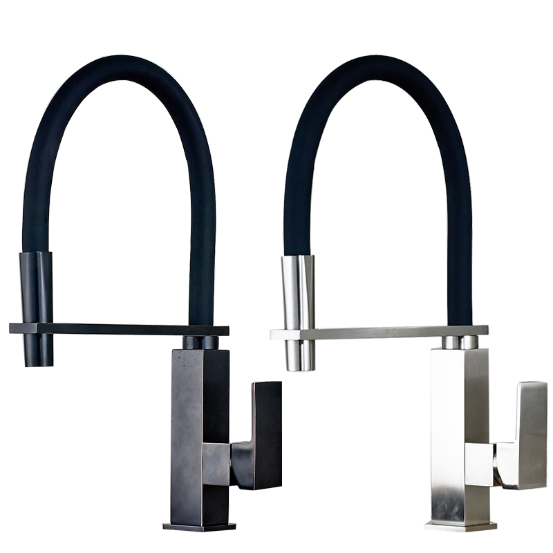 Best Quality Bathroom Kitchen Mixer Faucet Single Lever Deck Mounted Nickel Brushed/Black Hot and Cold Faucet