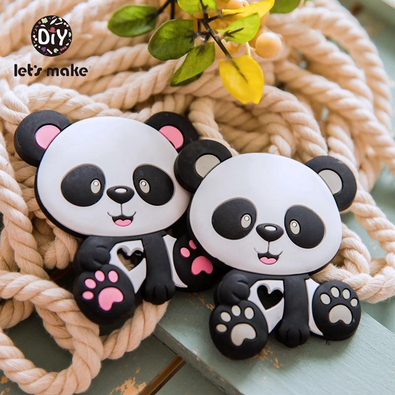 Let's Make Baby Teether Panda Cartoon Shape 1pc Food Grade Teething Pendant Nurse BPA Free Silicone Teether For Teeth Tiny Rod