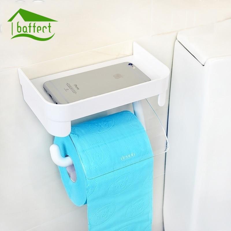 Baffect Wall MOUNTED พลาสติกม้วนกระดาษทิชชูผู้ถือโทรศัพท์เก็บอุปกรณ์ห้องน้ำ