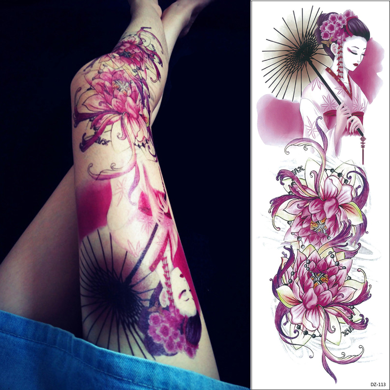 024c0cf3a 1 pc 48 cm long Flower Arm Tattoo Sticker 69 models Lotus Geisha designs  Temporary