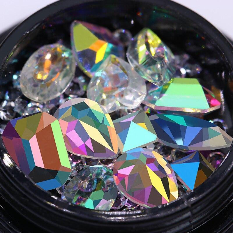Transparent AB Color Rhinestone Marquise Heart Sharp Bottom s