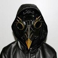 PU Leather Masks Steam Punk Gothic Bird Beak Mask Goggles Plague Doctor Cosplay Hood Halloween Mask