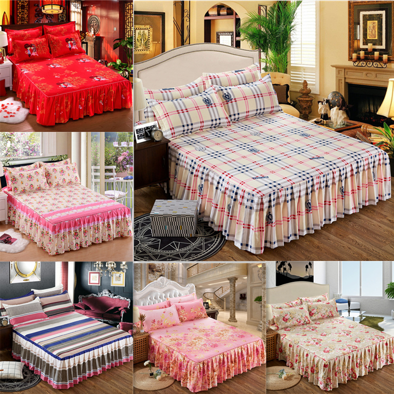 New Printed Bed Skirt Non-slip Cover + Pillowcase 3pcs Bed Mattress Cover Sheet Home Bedding Set  Linens Bedspread Jogo De Cama