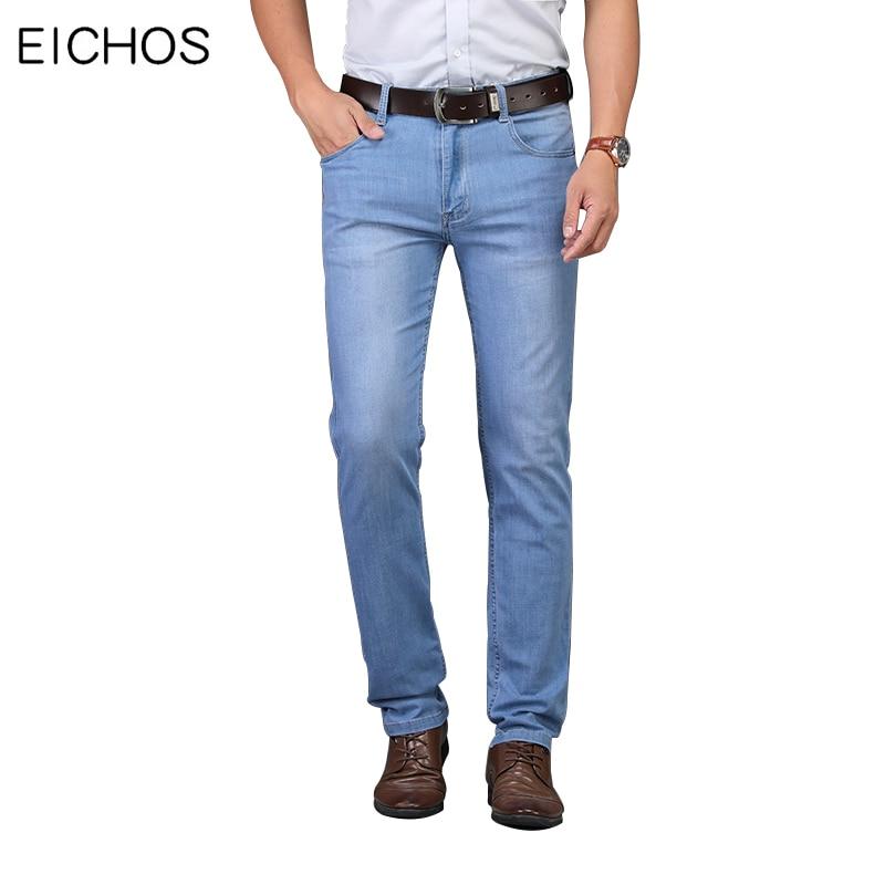 New Mens Jeans Brand Classic Jean Light Color Straight Slim Elastic Design Trousers Spring Summer Leisure Denim Jeans Men EICHOS
