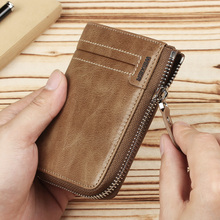 New Genuine Leather Short wallet men zipper top quality men wallets leather purse with coin pocket male wallet purse Cow leather hot sell new thick purse fashion women zipper wallet wristlet bag with serpentine genuine cow leather