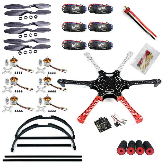 F05114-W F550 FlameWheel Kit Drone Con KK 2.3 HY ESC Motor de Fibra De carbono Hélices RadioLink 6CH TX RX + Tall Landing Skid PTZ FS