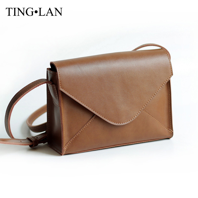 ФОТО Genuine Leather Women Shoulder Messenger Bags Vintage Brown Crossbody Bags For Ladies Small Flap Bag European American Style