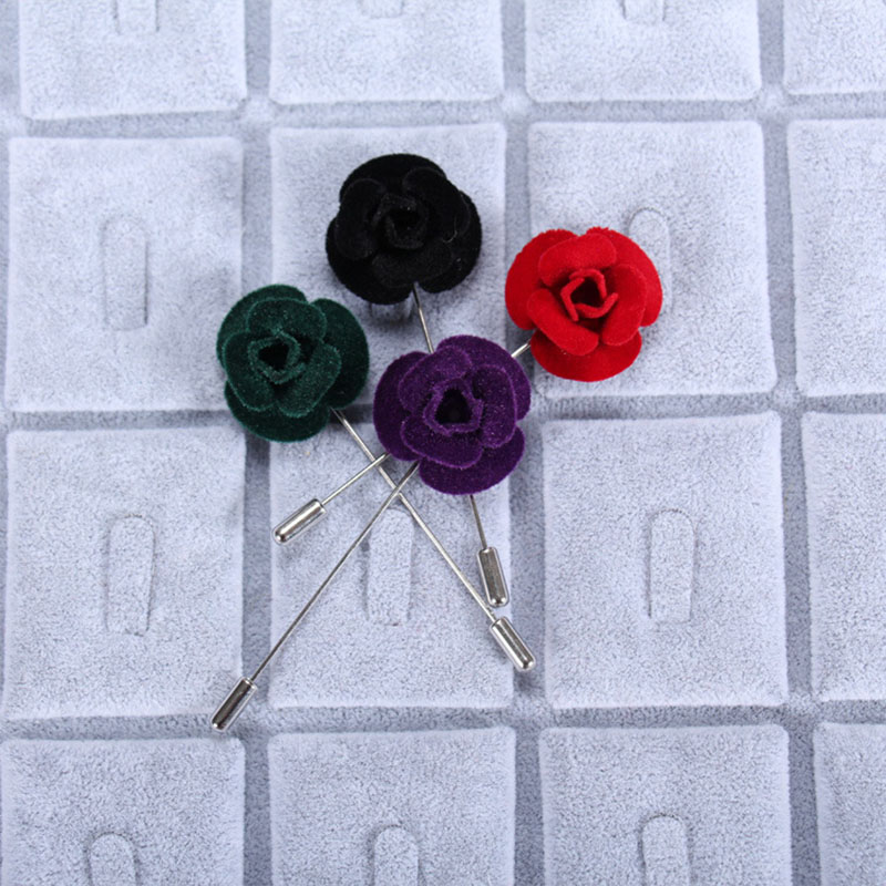Stylish Beautiful Black Flower Lapel Pin: Mdiger Men Fashion Solid Color Lapel Pin Beautiful Flower