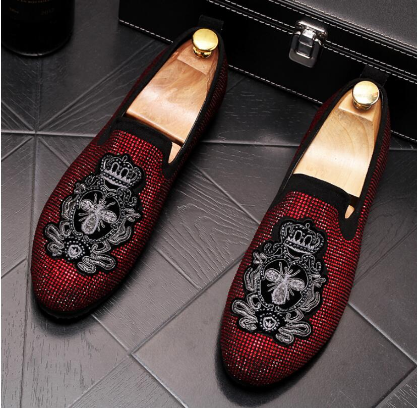 Handmade Gold Rhinestone embroidery bees Men's Suede Loafers Wedding Party Men Shoes Luxury Noble Elegant Dress Shoes for Men 6
