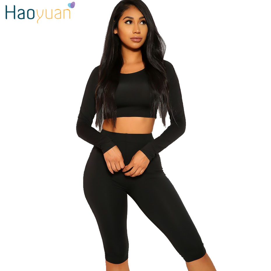 HAOYUAN Two Piece Set Tracksuit Women Clothes Crop Tops And Biker Shorts Sweat Suits Sexy Club Outfits 2 Pieces Matching Sets